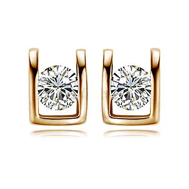 Žene Kristal Kubični Zirconia Imitacija dijamanta Sitne naušnice - Simple Style Pink Rose Gold U Shaped Naušnice Za