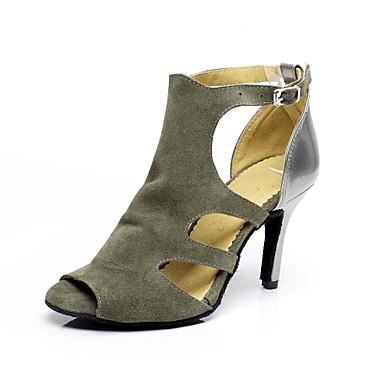 Women's Latin Salsa Suede Sandal Indoor Buckle Stiletto Heel Grey 3