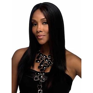 Kadın Sentetik Peruklar Bonesiz Uzun Düz Siyah kostüm Peruk