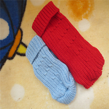 Dog Sweater Dog Clothes Solid Red Blue Costume For Pets