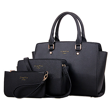 Kadın's Çantalar PU Tote Omuz çantası Çanta Setleri için Alışveriş Günlük Resmi Ofis ve Kariyer Tüm Mevsimler Siyah Mor Fuşya Mavi Pembe
