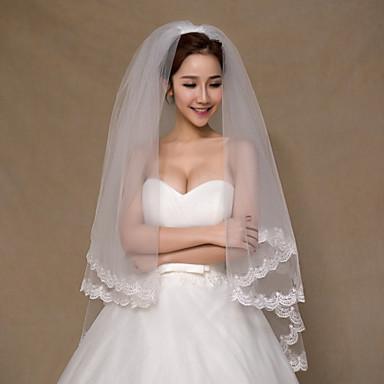 Πέπλα Γάμου Δύο-βαθμίδων Πέπλα ως τον αγκώνα Άκρη με Απλίκα Δαντέλας Τούλι Δαντέλα Ιβουάρ