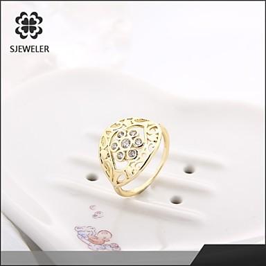 Bagues Affirmées Mode Zircon Platiné 18K or Imitation Diamant Bijoux Pour Mariage Soirée 1pc