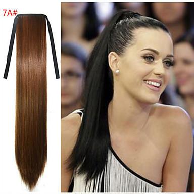 Gerade Synthetik Haarstück Haar-Verlängerung 18 Zoll Braun