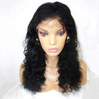 Emberi haj Csipke Csipke eleje Paróka Hullámos 120% Sűrűség 100% kézi csomózású Afro-amerikai paróka Természetes hajszálvonal Rövid