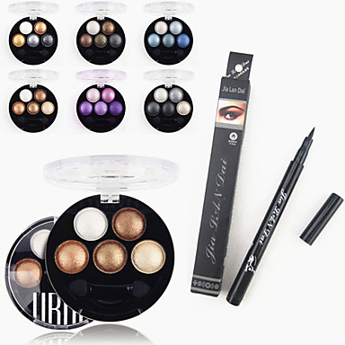 1stk vanntett flytende eyeliner penn & 1stk lyse stereo fem farger ubub ovnsbakt øyenskygge pulver metallisk skimmer
