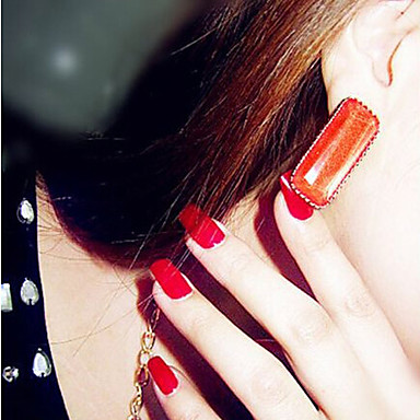 Κουμπωτά Σκουλαρίκια Πετράδι Κράμα Δήλωση Κοσμήματα Sexy Λευκό Μαύρο Πορτοκαλί Κόκκινο Κοσμήματα 2pcs