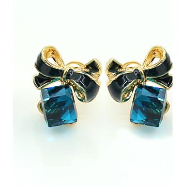 Damen Kristall Ohrstecker - 18K vergoldet, Strass, vergoldet Europäisch, Modisch Blau Für / Diamantimitate / Österreichisches Kristall