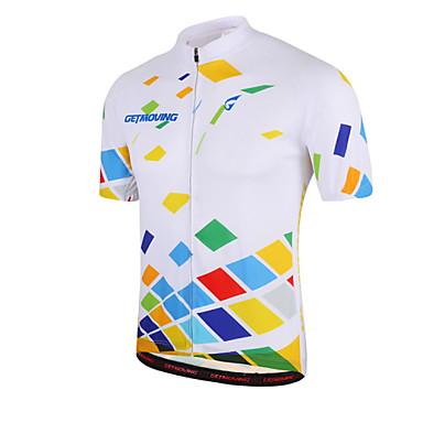 GETMOVING Φανέλα ποδηλασίας Γυναικεία Ανδρικά Γιούνισεξ Κοντομάνικο Ποδήλατο Αθλητική μπλούζα ΜπολύζεςΓρήγορο Στέγνωμα Ανατομικός