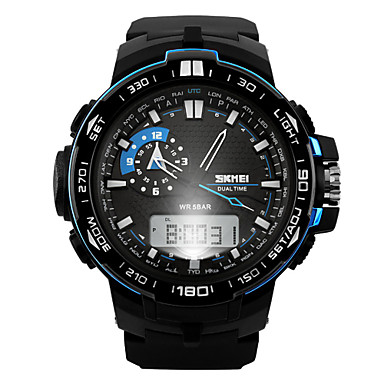 SKMEI Men's Sport Watch / Wrist Watch Alarm / Calendar / date / day / Chronograph Rubber Band Charm Black / Water Resistant / Water Proof / LCD / Dual Time Zones