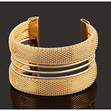 abordables Bracelet-Manchettes Bracelets Rétro Soirée Travail Décontracté Ouvert Mode Ajustable Plaqué or Alliage Bijoux Bijoux de fantaisie Écran couleur