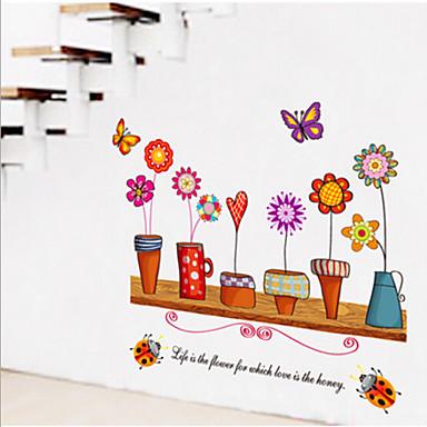Dyr Still Life Romantik Mote Blomster fantasi Botanisk Veggklistremerker Fly vægklistermærker Dekorative Mur Klistermærker, Vinyl Hjem