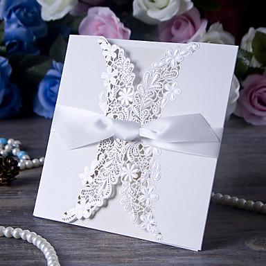 Tri-Dobrado Convites de casamento Cartões de convite Papel de Cartão Fitas