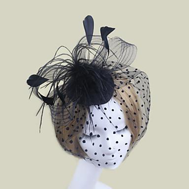 Φτερό Σατέν Δίχτυ Γοητευτικά Λουλούδια Βιτρίνα Πτηνών 1 Γάμου Ειδική Περίσταση Headpiece
