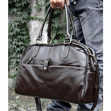 Αντρικό PU Καθημερινή Τσάντα ώμου Καφέ / Μαύρο
