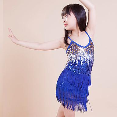 Taniec latynoamerykański Suknie Dla dzieci Wydajność / Trening Poliester Cekiny / Tassel (s) 1 sztuka Bez rękawów Sukienki