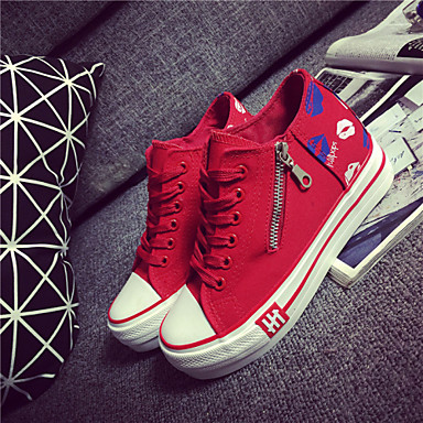 Feminino Sapatos Lona Primavera Conforto Tênis Rasteiro Cadarço Para Atlético Branco Preto Vermelho Azul
