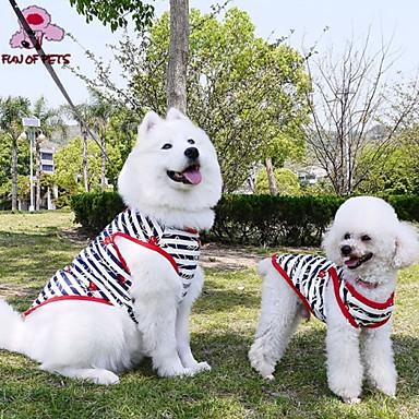 Γάτα Σκύλος Φανέλα Ρούχα για σκύλους Καθημερινά Ριγέ Μαύρο Στολές Για κατοικίδια