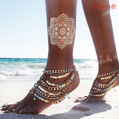 Layered Anklet Barefoot Sandals - Bikini, Multi Layer, Sequins Golden For Daily / Casual / Women's