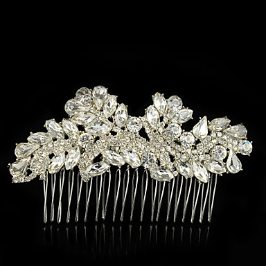 Gemstone & Crystal Tulle Alloy Hair Combs Headpiece with Crystal Feather 1 Wedding Special Occasion Event / Party Party / Evening