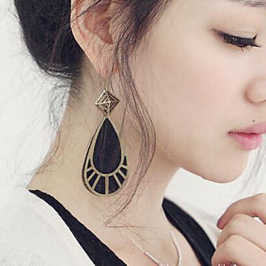 Drop Earrings Simulated Diamond Alloy Drop Black Jewelry 2pcs