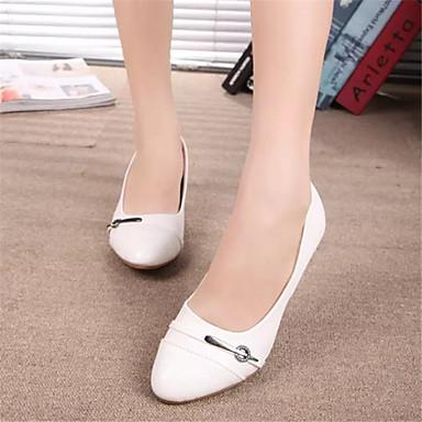 펌프스/힐 - 드레스 - 여성의 신발 - 둥근 앞코 - 레더렛 - 청키 굽 - 블랙 / 화이트