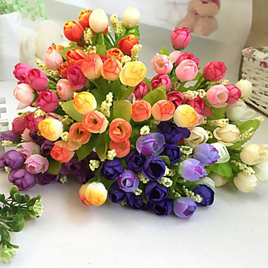 1 Филиал Полиэстер Пластик Розы Букеты на стол Искусственные Цветы
