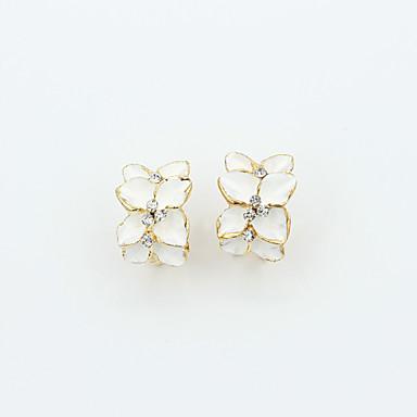 Stud Earrings Crystal Rhinestone Gold Plated Simulated Diamond 18K gold Fashion White Black Jewelry 2pcs