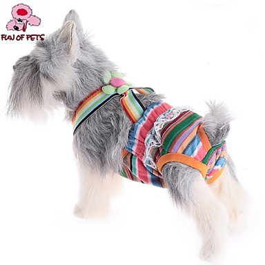 Γάτα Σκύλος Παντελόνια Ρούχα για σκύλους Στολές Ηρώων Γάμος Ριγέ Τυχαίο Χρώμα Στολές Για κατοικίδια