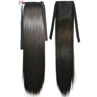 Gerade Synthetik Haarstück Haar-Verlängerung 18 Zoll Dunkelbraun