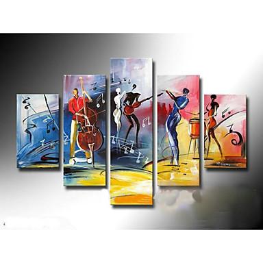 Kézzel festett Absztrakt bármilyen forma Vászon Hang festett olajfestmény lakberendezési Öt elem