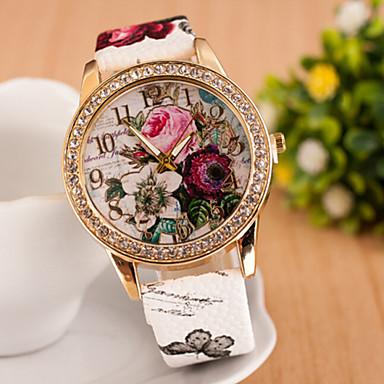 Damskie Modny Sztuczny Diamant Zegarek Kwarcowy sztuczna Diament PU Pasmo Kwiat Artystyczny Biały Niebieski Różowy Rose