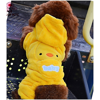 Cat Dog Hoodie Jumpsuit Dog Clothes Cute Casual/Daily Cartoon Yellow Costume For Pets