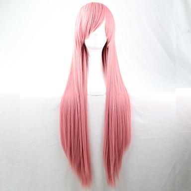 새로운 애니메이션 코스프레 분홍색 긴 직선 머리 가발 80cm