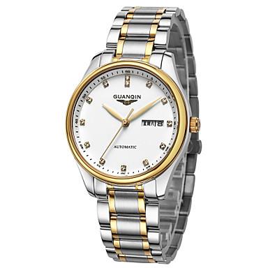 Herren Armbanduhr Automatikaufzug Wasserdicht Edelstahl Band Silber Marke