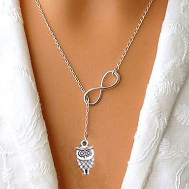 cheap Necklaces-Women's Silver Lucky Numbers 8 Short Owl Necklace Elegant Style