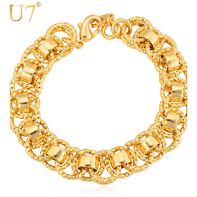 U7® Men's Hoops Chains Bangles 18K Gold/Platinum Plated Trendy Unique Men Jewelry Interlocking Link Wide Bracelets