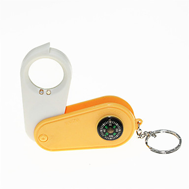 LED White Light + UV Flashlight Keychain with Magnifier and Compass
