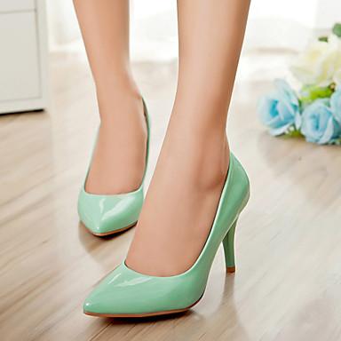 Feminino Sapatos Courino Primavera Verão Outono Salto Agulha para Casual Social Preto Vermelho Verde Amêndoa