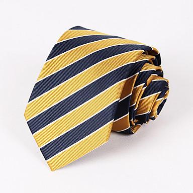 ανδρικό πάρτι / βραδινό κίτρινο και μπλε ναυτικό ριγωτή γραβάτα # pt065