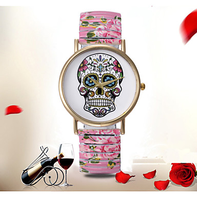 Women's Colorful Flower Pattern Geneva Simple Fashion Alloy Elastic Band Skull Ghost Watch Cool Watches Unique Watches