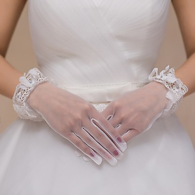 Tulle Wrist Length Glove Bridal Gloves Party/ Evening Gloves With Rhinestone Bowknot