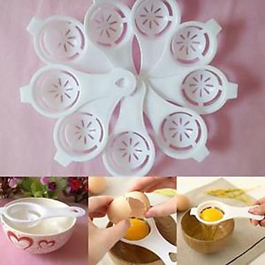Mutfak beyaz yumurta ayırıcı eleme gadget plastik filtre elek bölücü tutucu (rastgele renk)