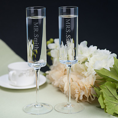 billige Sjampagneglass-Blyfritt Glass Riste Fløyter 1 Personalisert Gaveeske