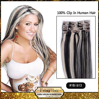 febay włosy 20-22inch 8szt 100g / set 1b / 613 peruvian spinkę do włosów w ludzkich włosów