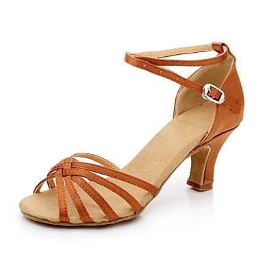 baratos Sapatos de Salsa-Mulheres Sapatos de Dança Cetim Sapatos de Dança Latina / Sapatos de Salsa Presilha Sandália Salto Cubano Não Personalizável Vermelho / Dourado / Azul Real / Camurça / EU41
