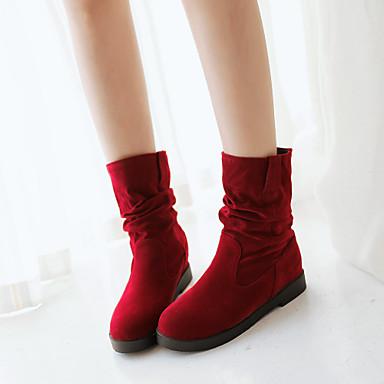 Γυναικείο Παπούτσια Φο Σουέτ Άνοιξη Φθινόπωρο Χειμώνας αδέξιος μπότες Πλατφόρμα Μπότες στη Μέση της Γάμπας Για Causal Φόρεμα Μαύρο Μπεζ