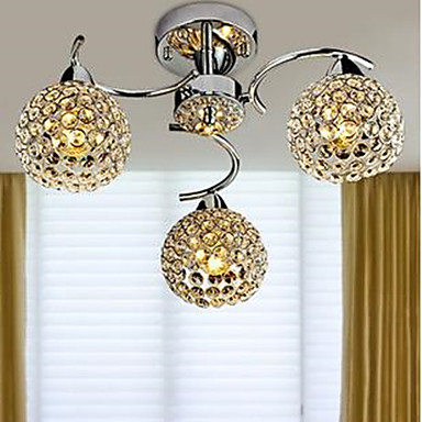 3-Light Chandelier Uplight - Crystal, LED, 110-120V / 220-240V, White, Bulb Included / 30-40㎡ / E12 / E14