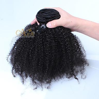 Mit Clip Haarverlängerungen Echthaar Kinky Curly Afro Damen Alltag