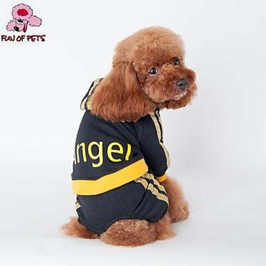 Cat Dog Hoodie Jumpsuit Dog Clothes Letter & Number Black Pink Cotton Costume For Pets Men's Fashion Sports